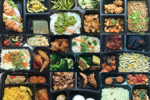 different bento food served during SHN, includes rice, pasta, vegetables, croissant and more