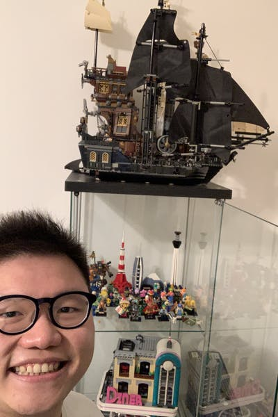 Hendra with his display of LEGO collection
