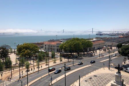 We never get tired of the view from Cowork Central over Lisbon's river Tejo