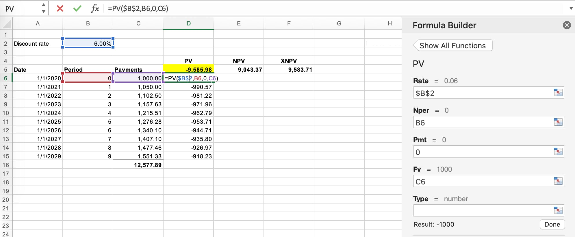 Present value lease accounting example calculed in excel