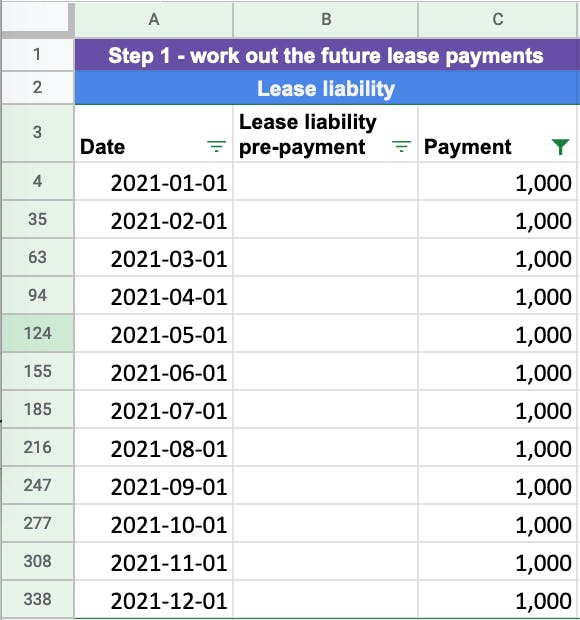 The first step to calculating the lease liability is to determine the known future lease payments from either commencement or transition to the new lease accounting standard.