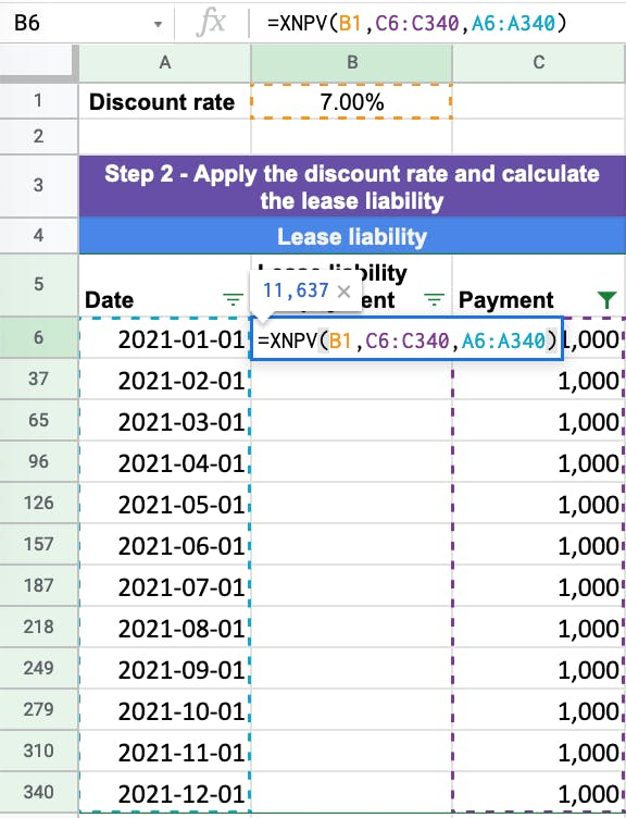 The XNPV function in excel is the most accurate present value function.