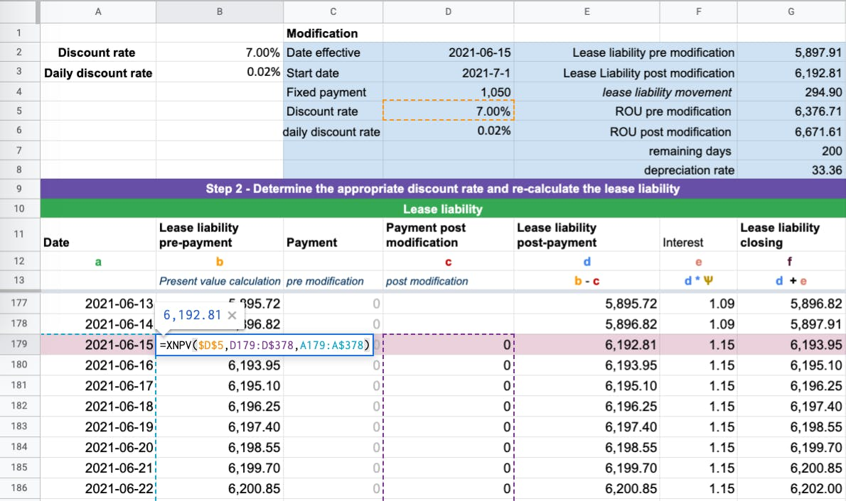 When a modification occurs, to ensure the numbers prior to the modification do not change.  Create a new column and input the updated lease payments.
