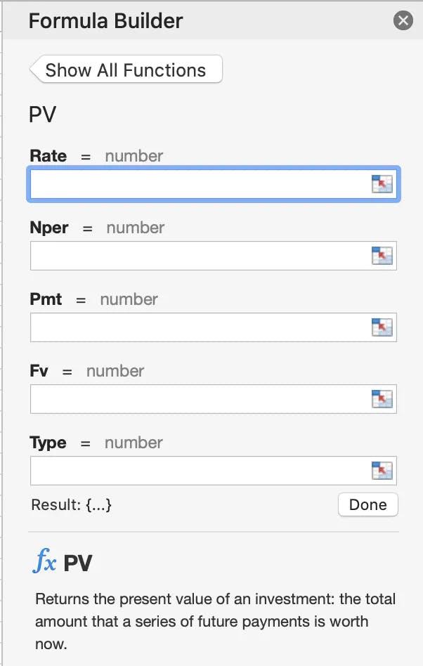Formula Builder in Microsoft Excel for the Present Value Formula