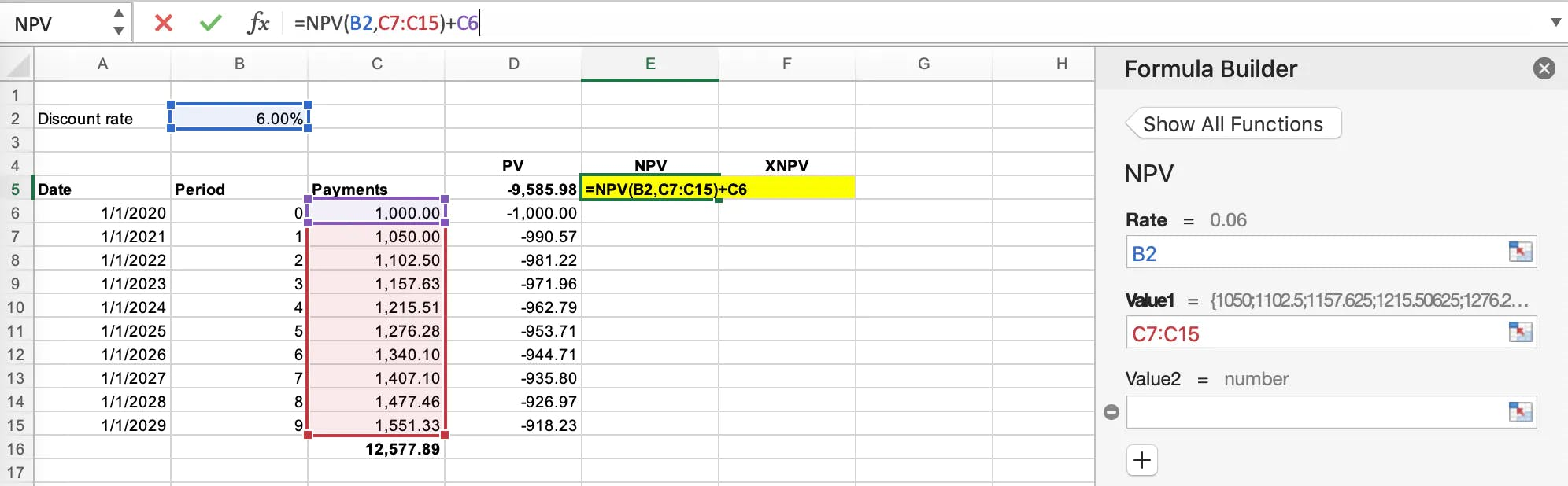 Application of the Net Present Value formula in Microsoft Excel