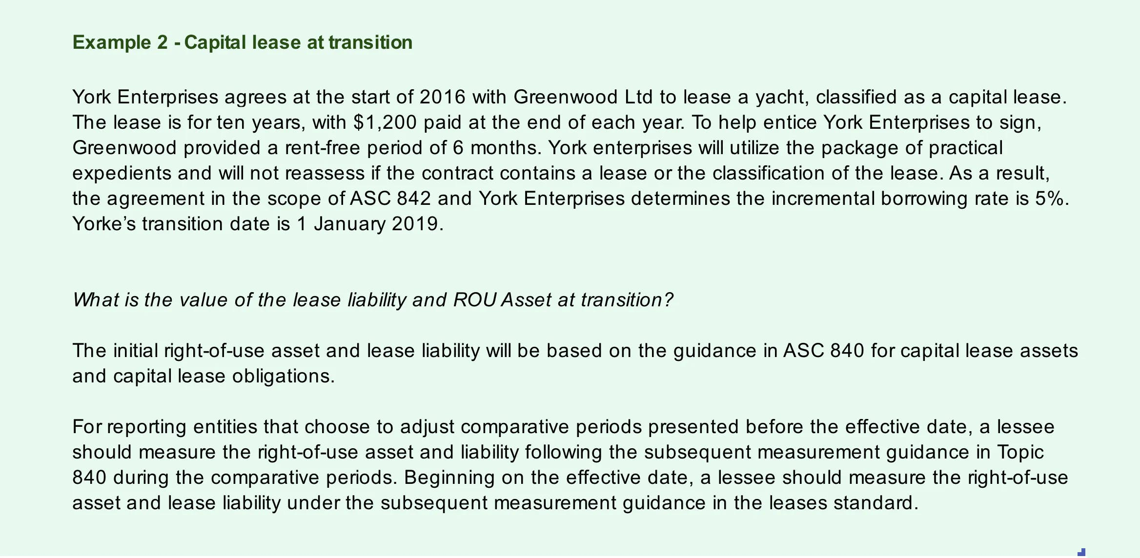 Example of how to transition from a capital lease under ASC 840 to a finance lease under ASC 842