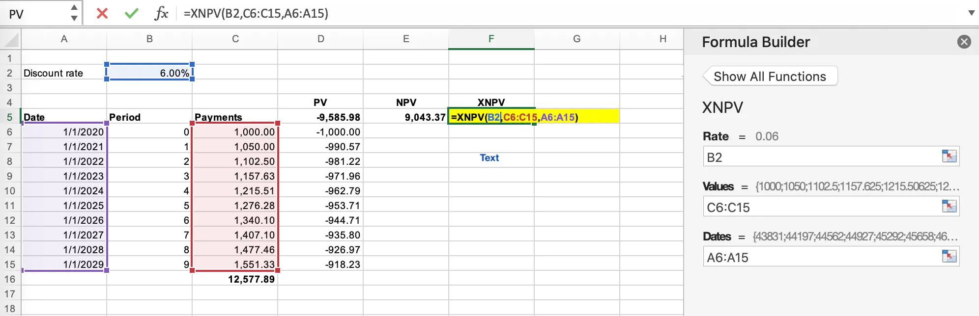 Application of the XNPV formula in Microsoft Excel
