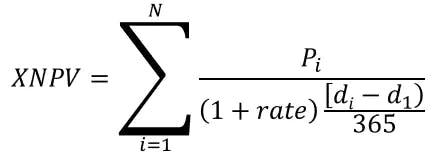 XNPV mathematical formula