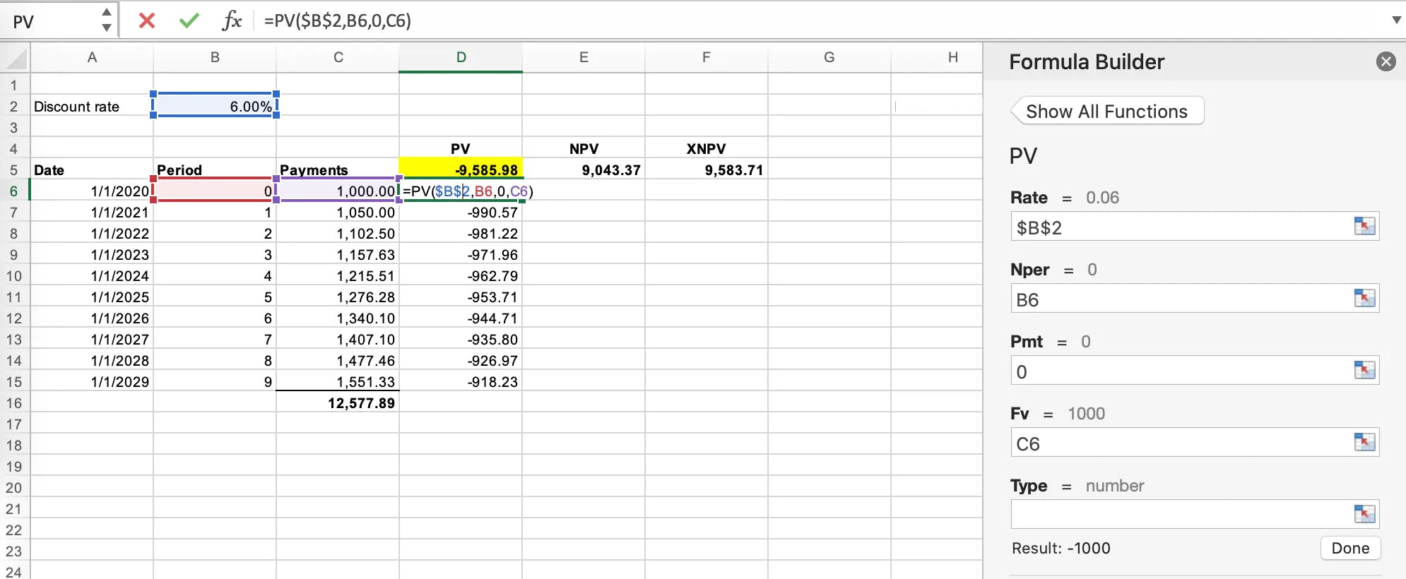 Application of the present value formula in Microsoft Excel