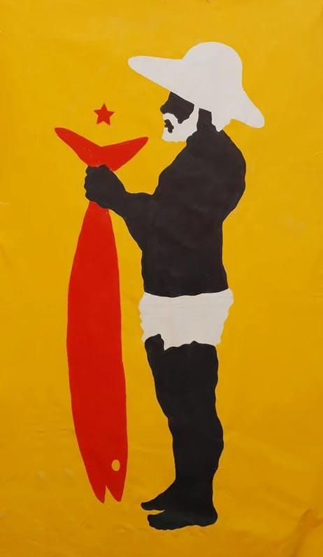 Imagem com pintura de pescador negro segurando um grande peixe apenas da cor vermelha.