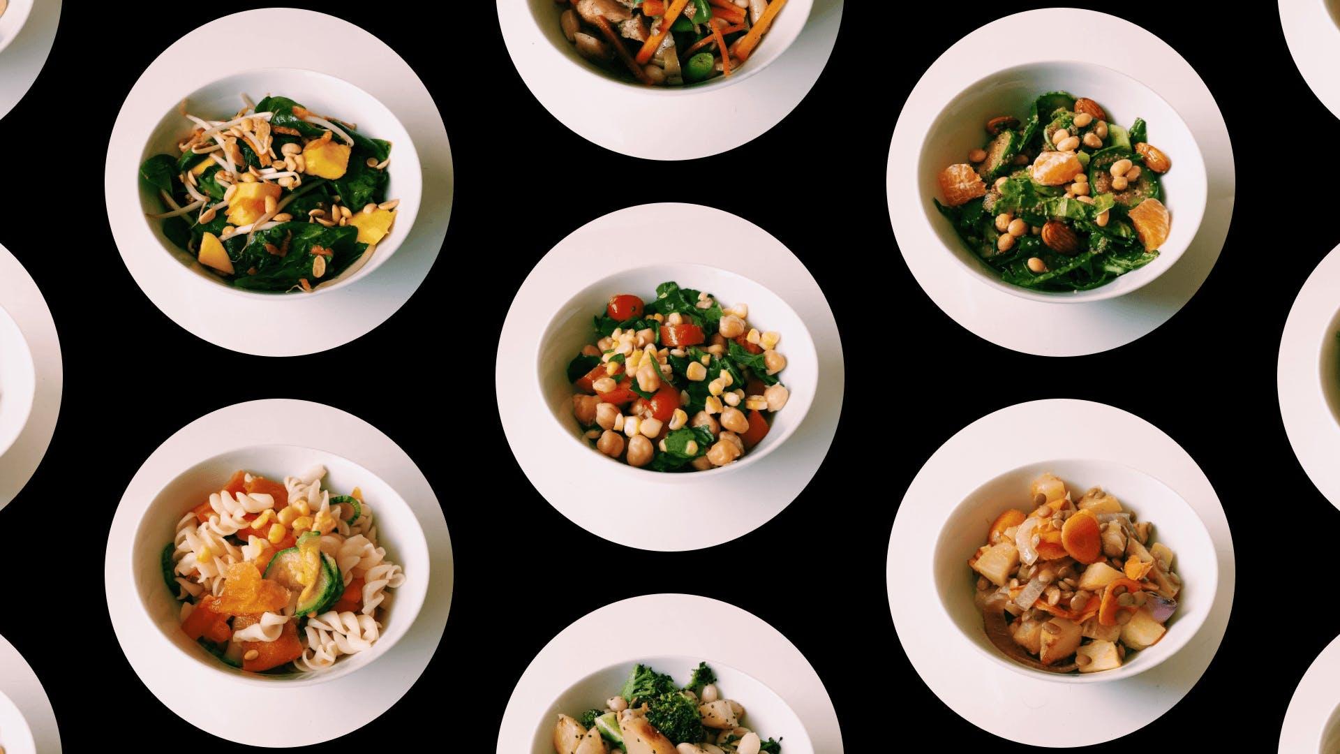 Imagem contendo fotos com pratos de saladas sem alface.