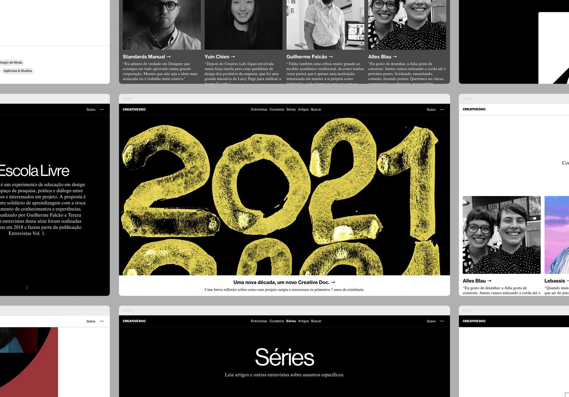 Imagem contendo interfaces gráficas do site.