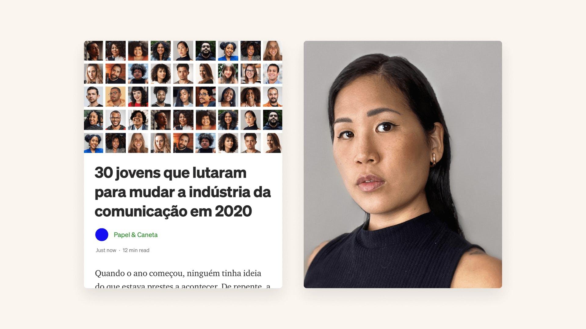 Imagem contendo fotografia de Denise e uma colagem de um artigo contendo título 30 jovens que lutaram para mudar a indústria da comunicação em 2020.