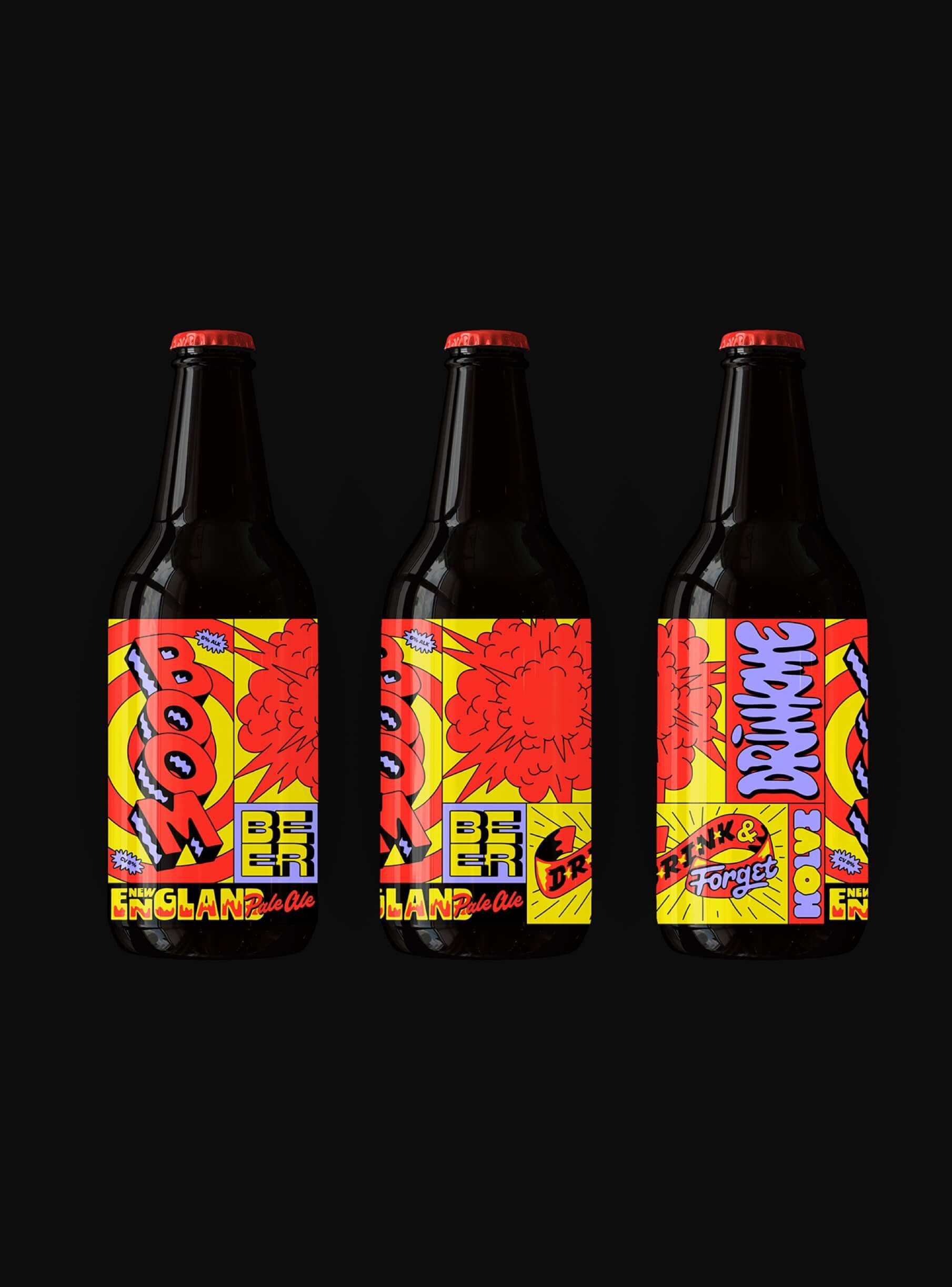Imagem de embalagens para Boom Beer, uma cerveja comemorativa de Holvi, uma fintech baseada em Helsinki.