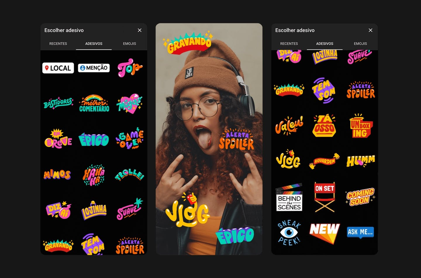 Imagem de conjunto de stickers para YouTube Stories.