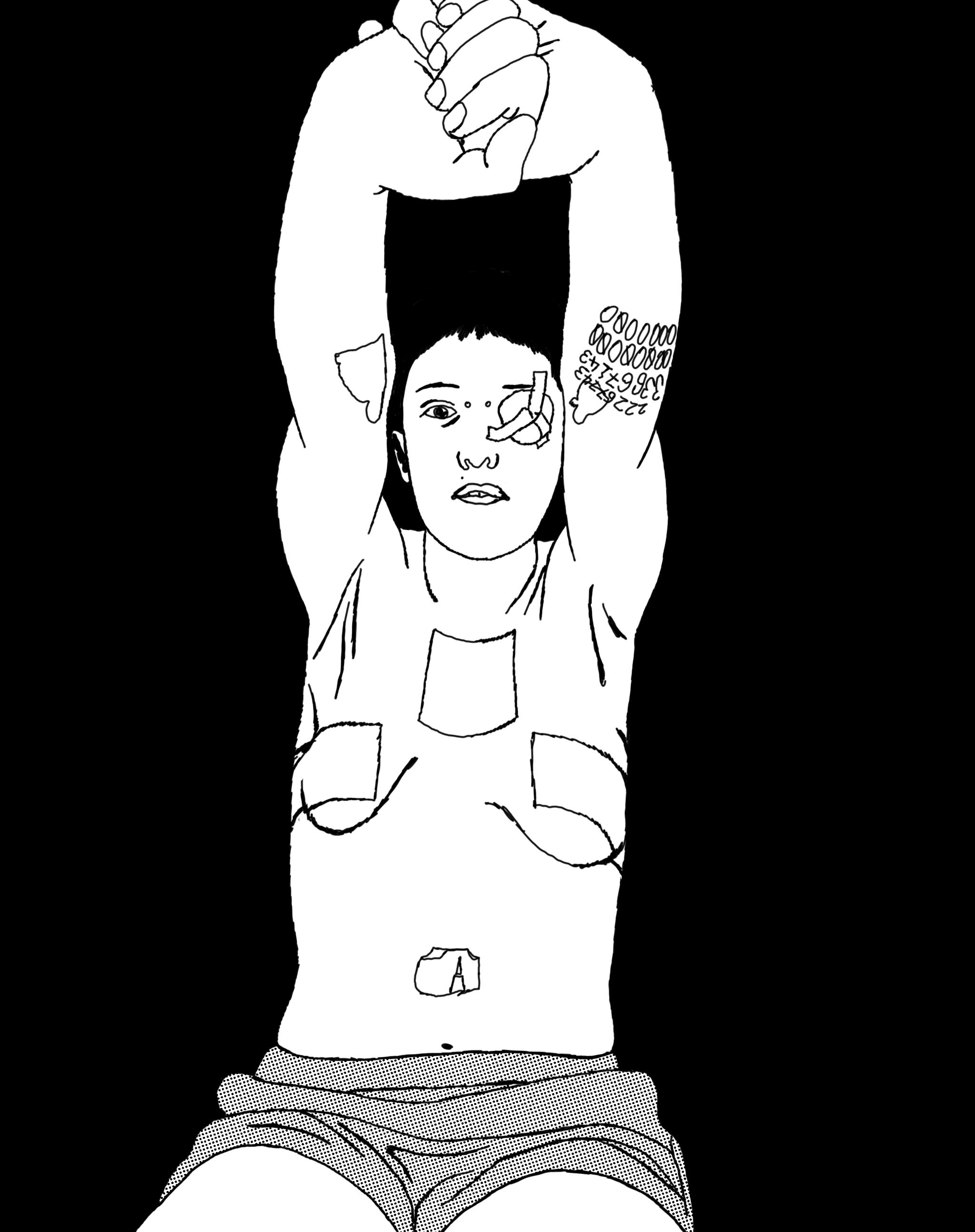 Imagem com ilustração de Ivo Puiupo. Uma mulher estirando os braços, sem camisa contendo esparadrapos nos seios.