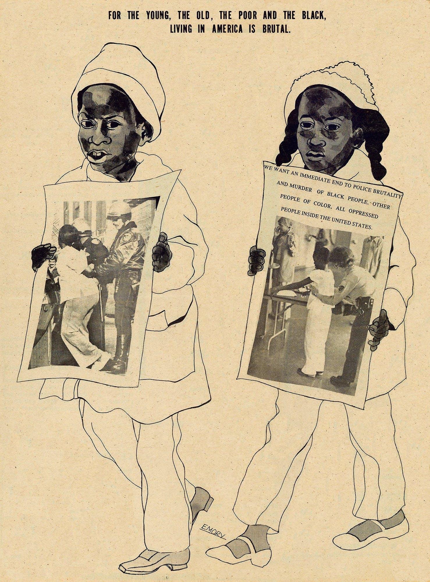 Imagem com desenho de crianças negras segurando jornal.