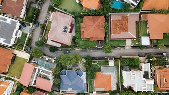An aerial view of houses