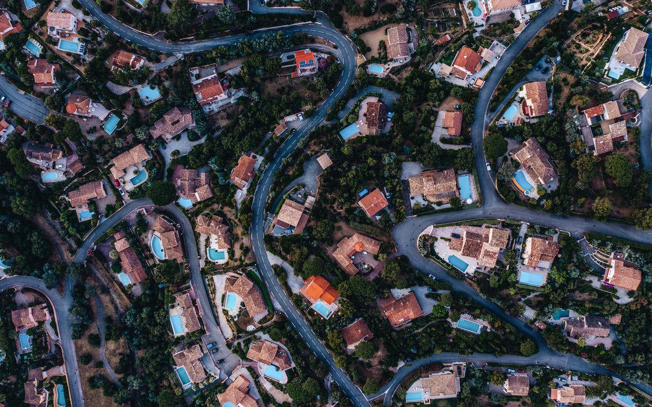Aerial view of residential properties in the suburbs
