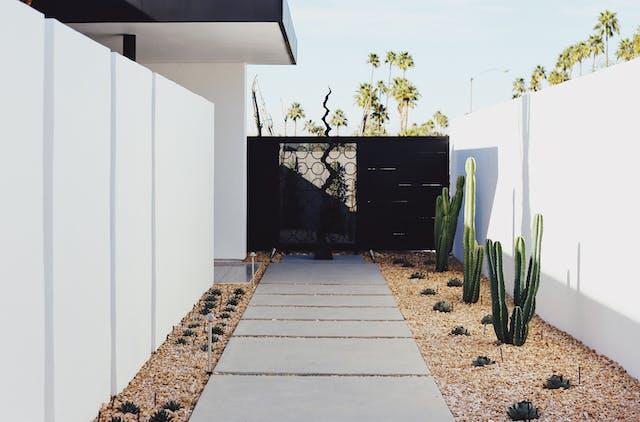 A freshly landscaped yard