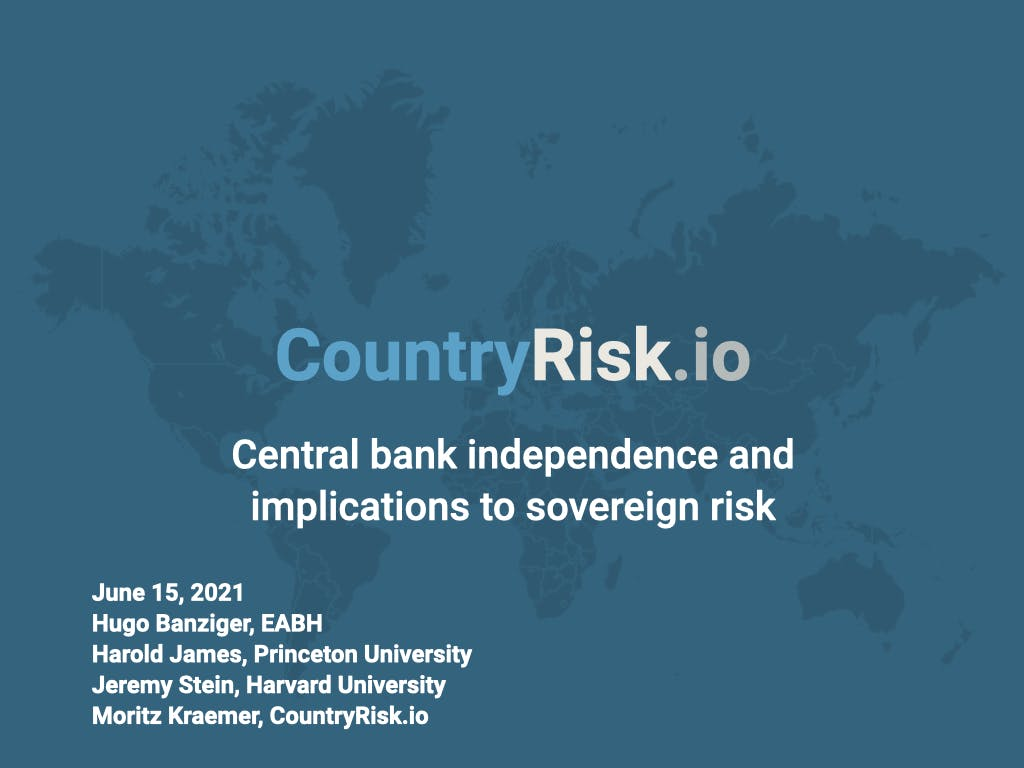 Webinar: Central bank independence and implications for sovereign risk