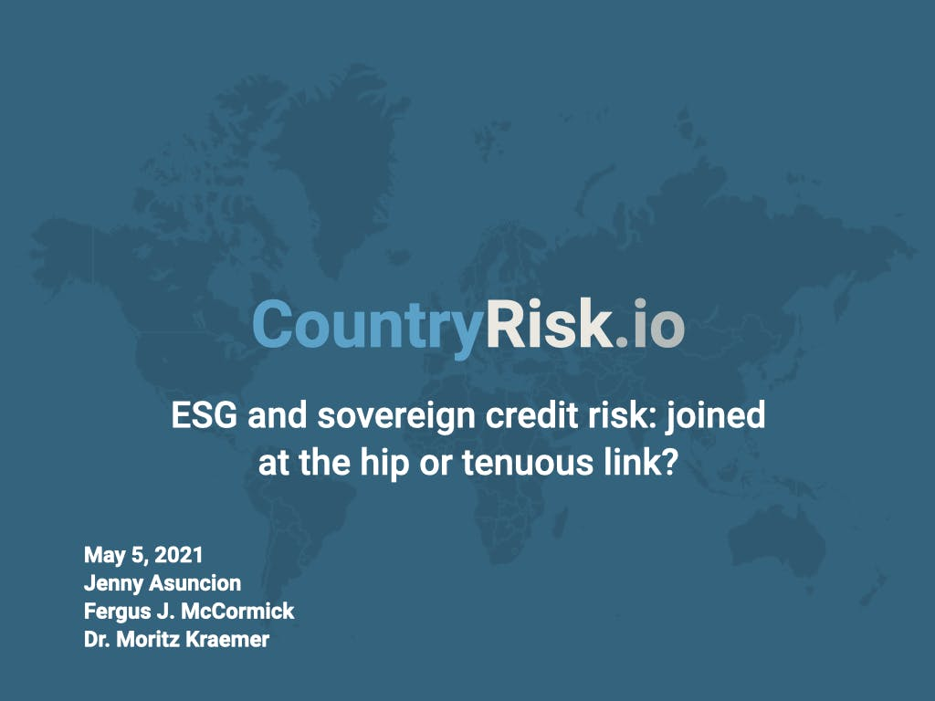 Webinar material: ESG and sovereign credit risk: joined at the hip or a tenuous link?
