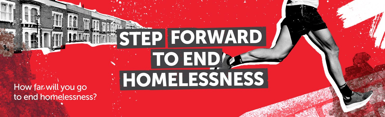 Step Forward to End Homelessness banner - red background, runner over the top.