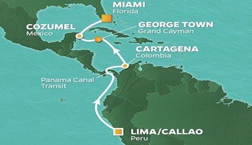 Kart som viser reiseruten fra Lima til Miami. Grafikk