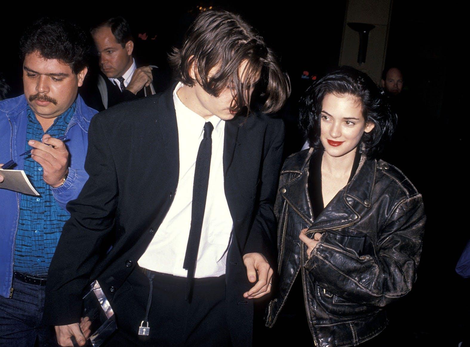 Winona Ryder with Johnny Depp.