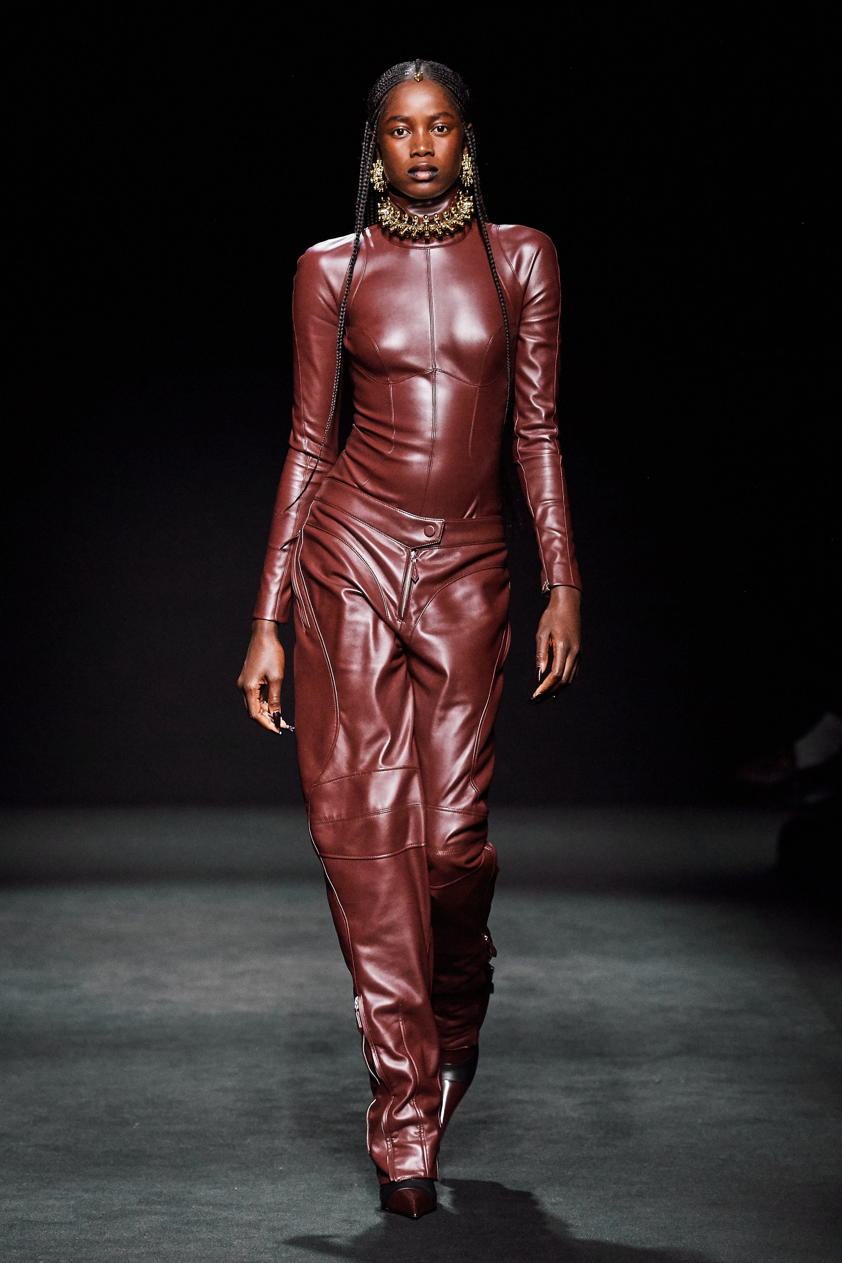 Mugler Runway Highneck Longsleeve Bodysuit in Brown Leather Loose Fit Trousers in Brown Leather Fall 20
