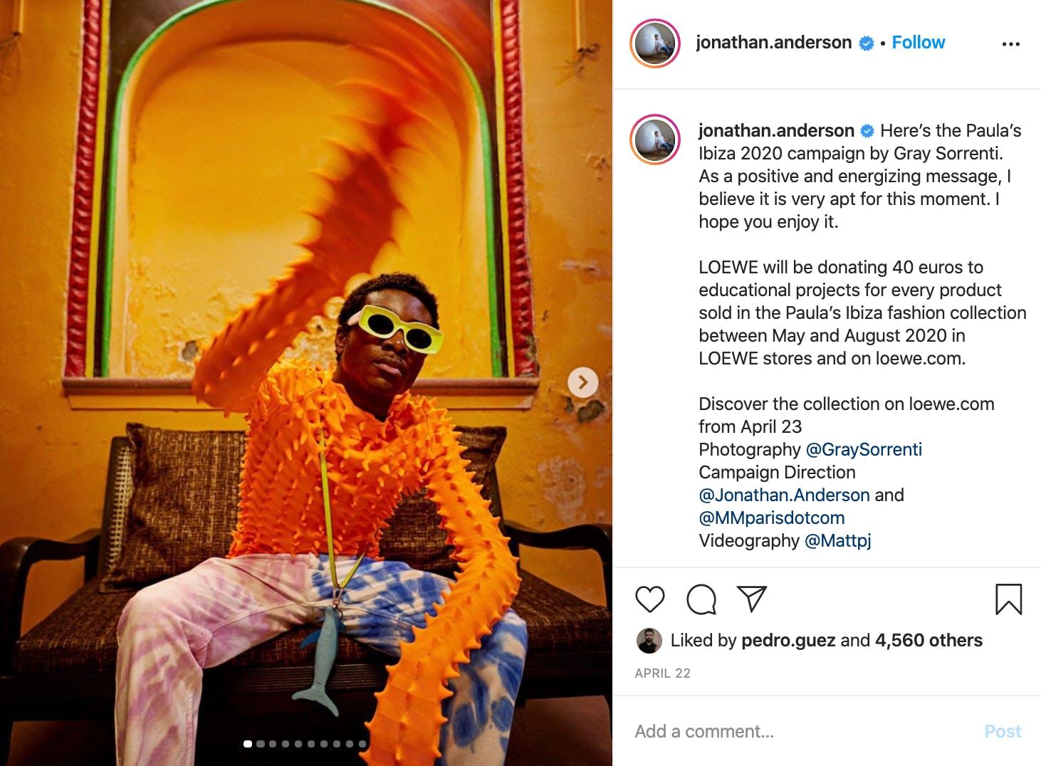 Jonathan Anderson - Loewe art director's instagram feed.