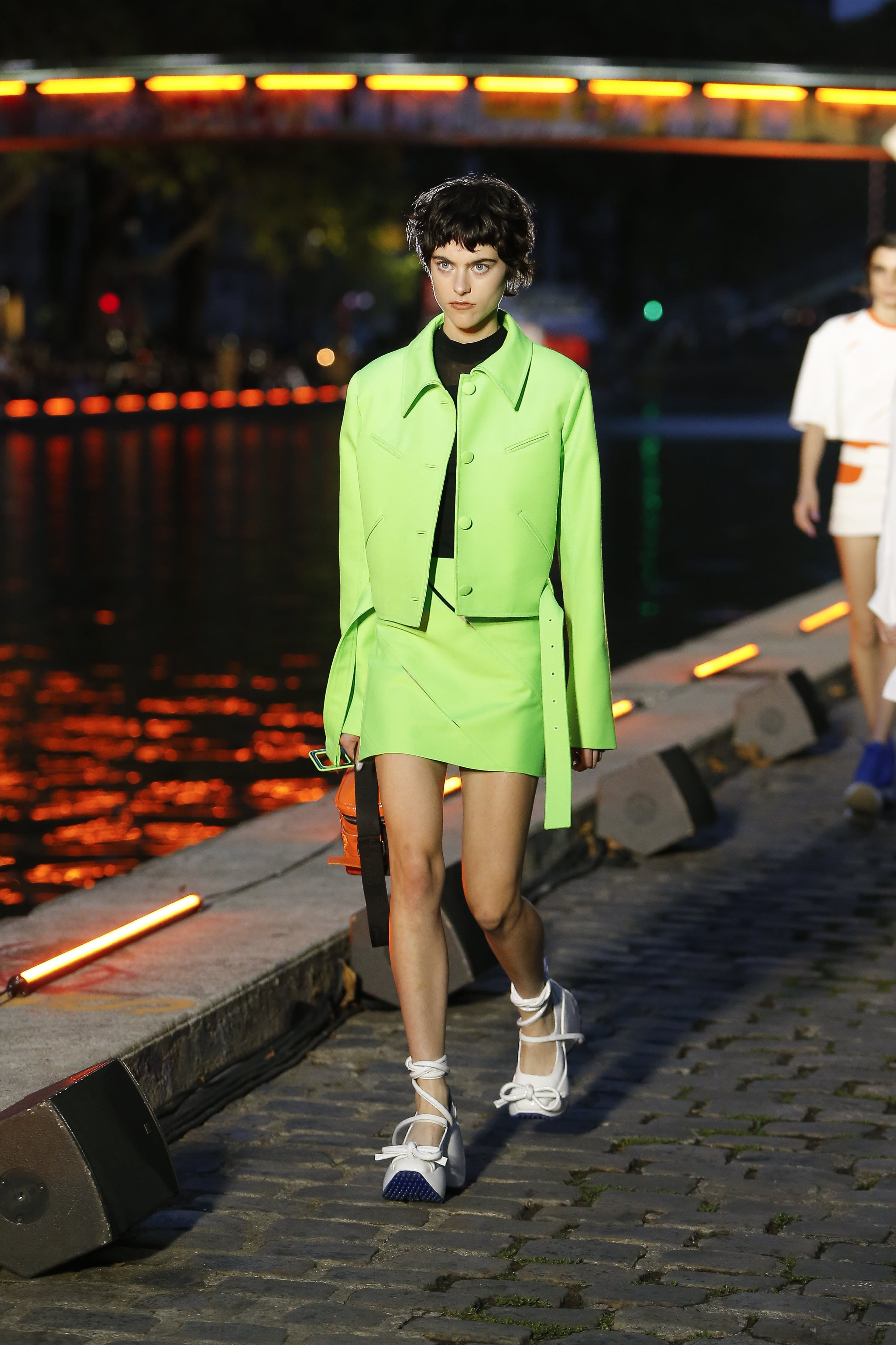 Courreges Runway Short Belted Jacket in Lime green Mini Skirt in Lime Green SS20