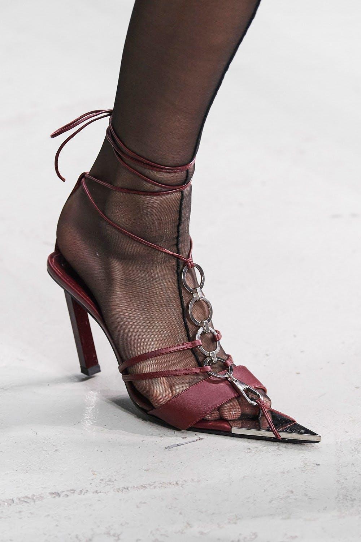 Mugler Runway Details Tie Up Pointed Heels in Maroon Spring 20