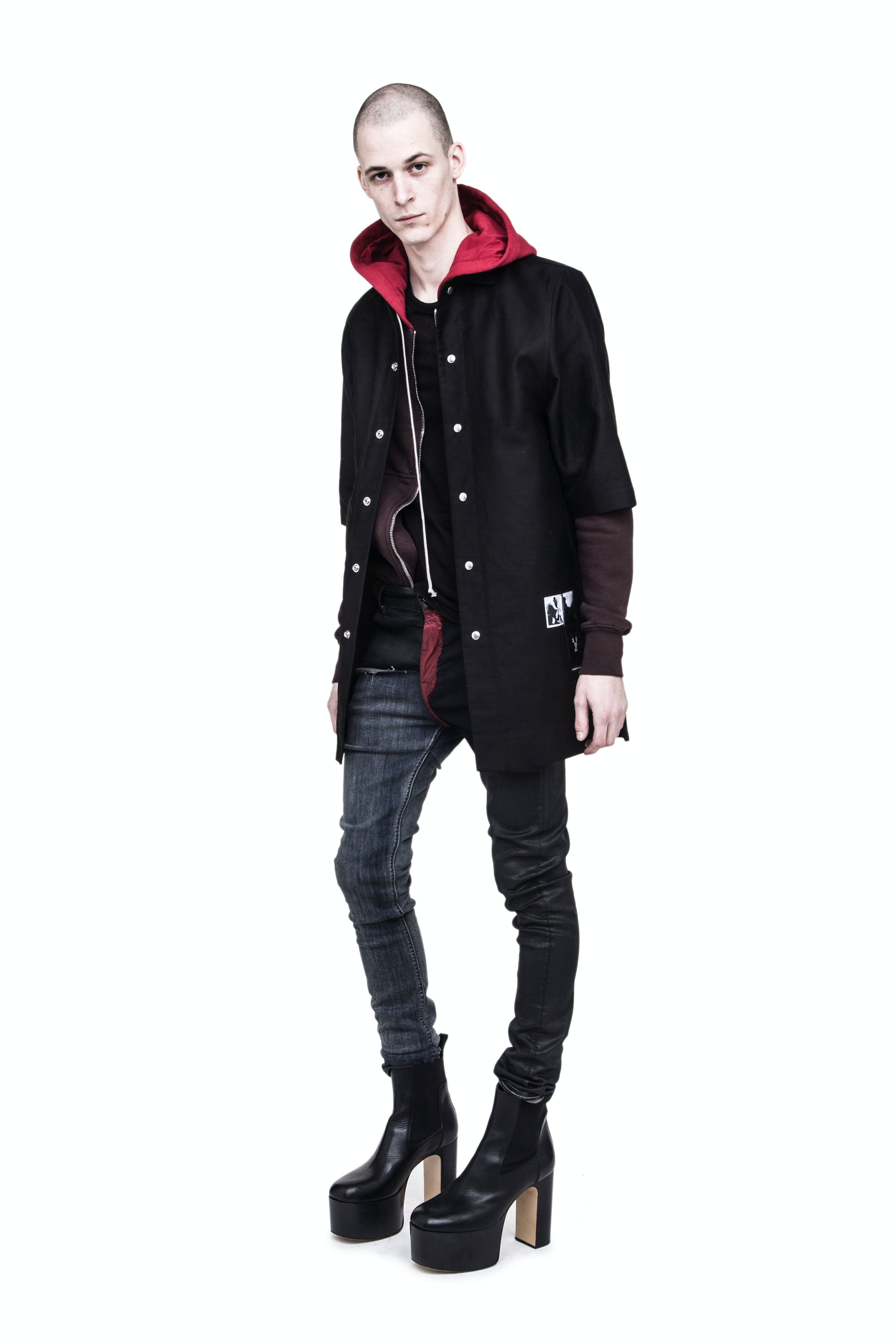 Rick Owens Campaign Snap Button DRKSHDW Shirt Jacket Red Zip Up Hoodie Tyrone Patch Work Jeans Mens SS19 Babel