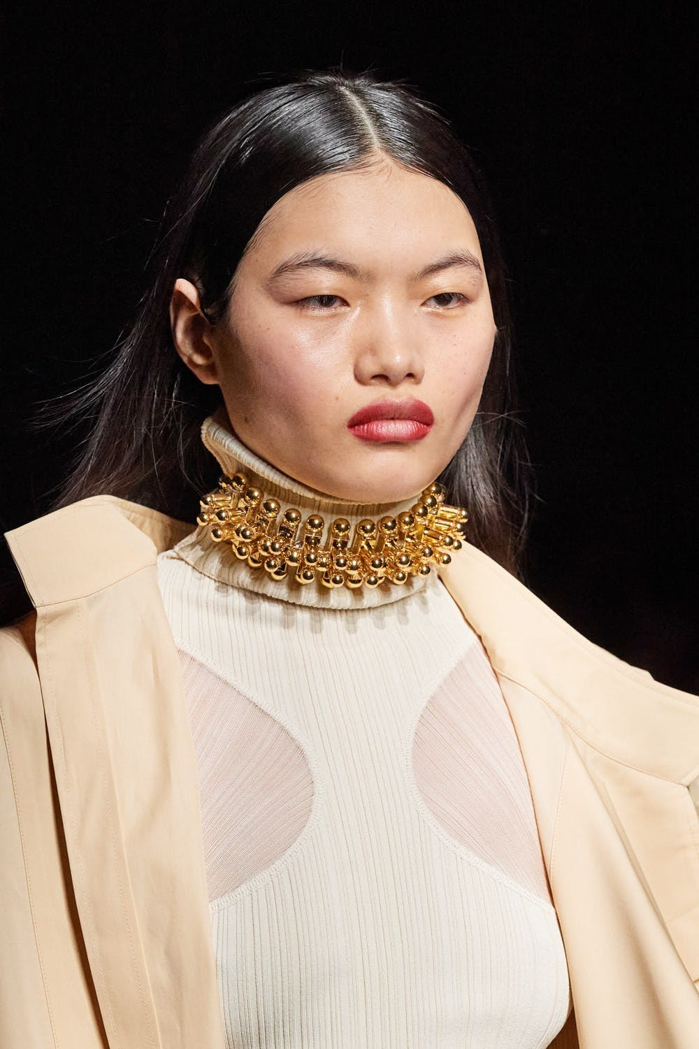 Mugler Runway Details Turtleneck Sheer Cutout Dress in White Chunky Choker in Gold	Fall 20 RTW