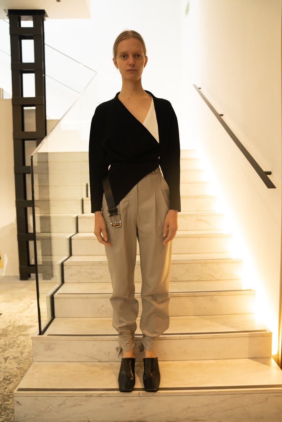 Proenza Schouler Belted Top in Black Tie pants in Grey Spring 20 RTW