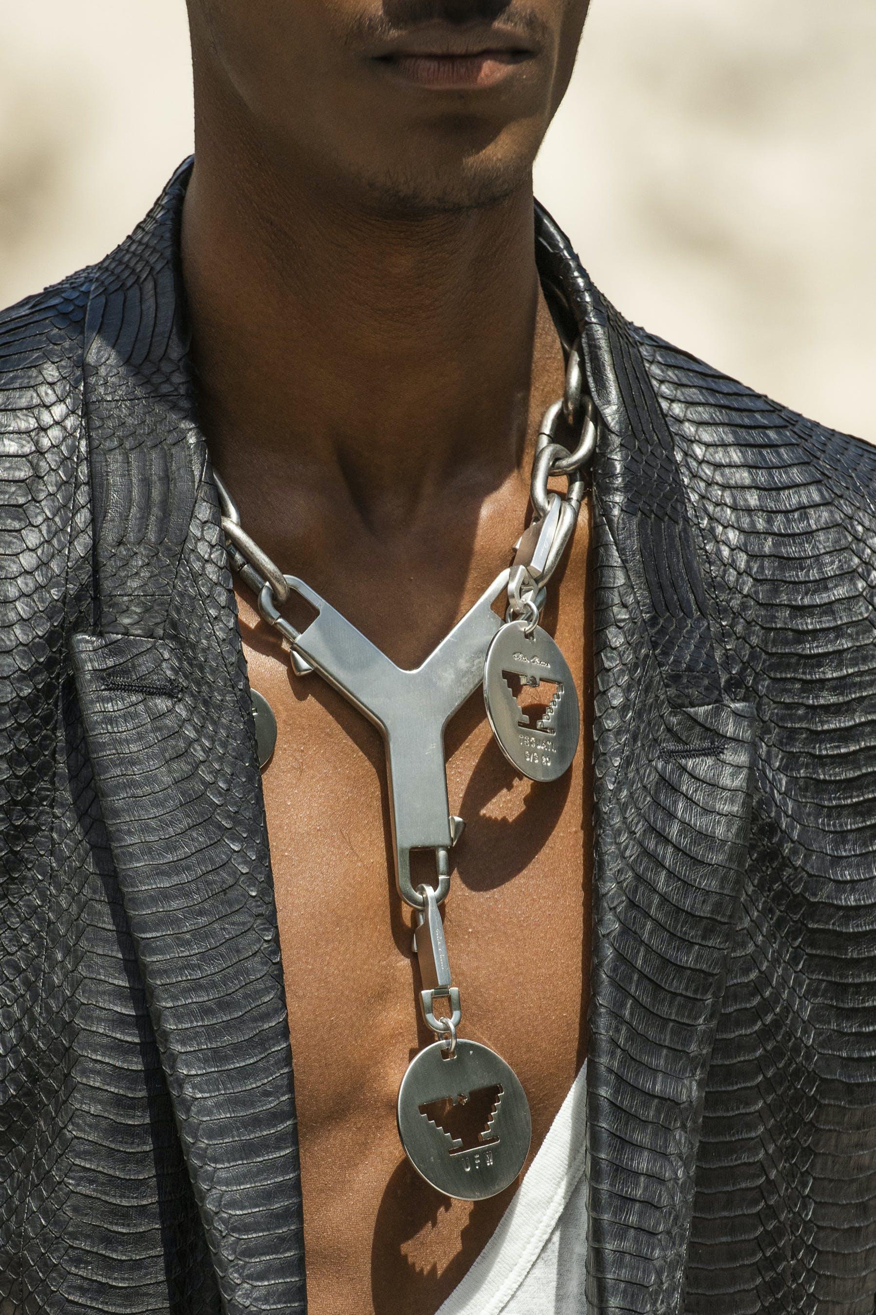 Rick Owens Runway Details Tatlin Blazer in Black Snake Skin Leather Chain Necklace Cerberus Key Chain UFW Logo Mens SS20 Tecautl
