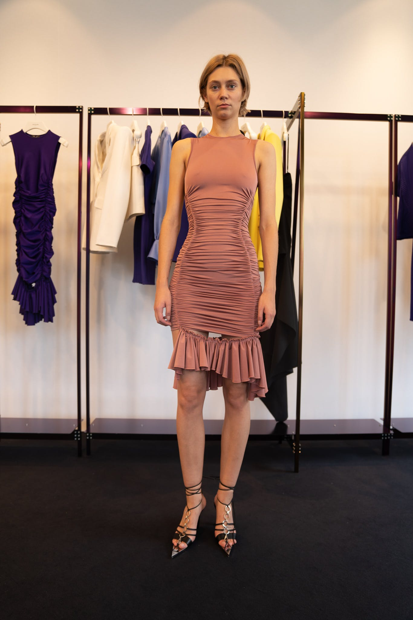 Mugler Showroom Ruched Side Slit Dress in Pink Tie-Up Heels Spring 20 RTW