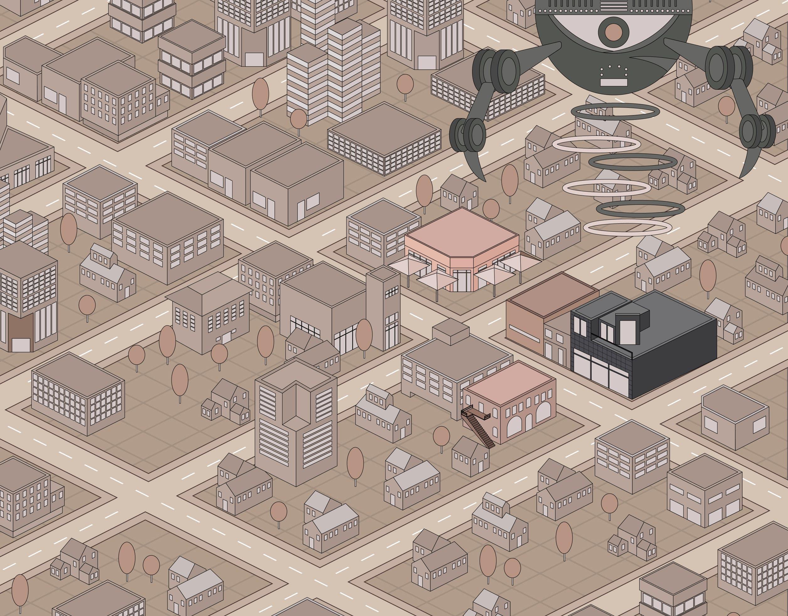 Isometric Illustration that Traffics in Incongruities