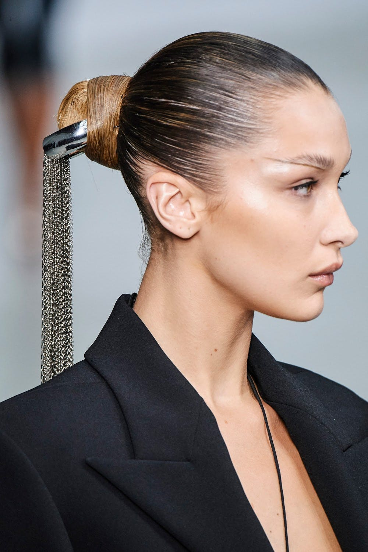 Mugler Runway Details Bella Hadid in Super Crop Blazer in Black Hair Chain Tie Spring 20
