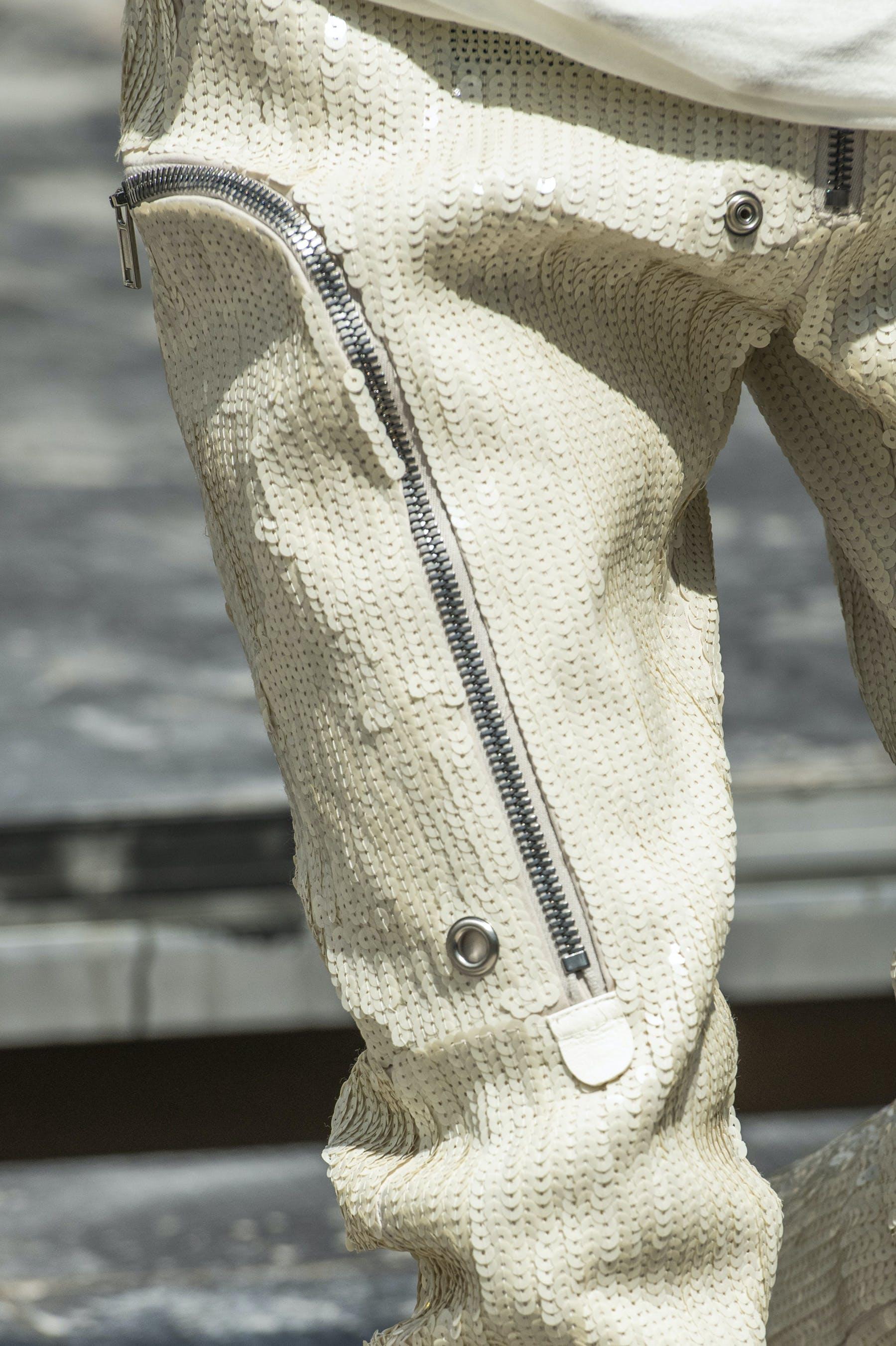 Rick Owens Runway Details Bauhaus Hand Embroidered Sequins Cargo Pants in White Close UpMens SS20 Tecautl
