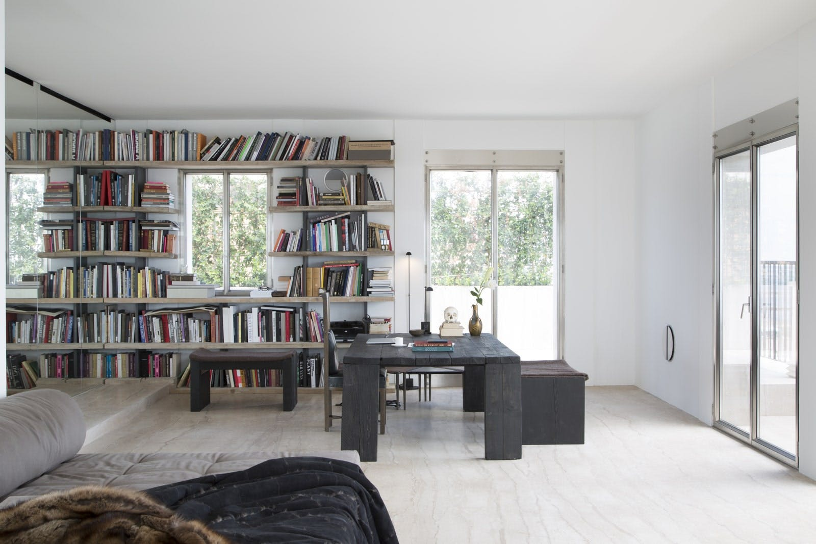 Rick Owens's minimalist house in Venice, Italy - Living room.