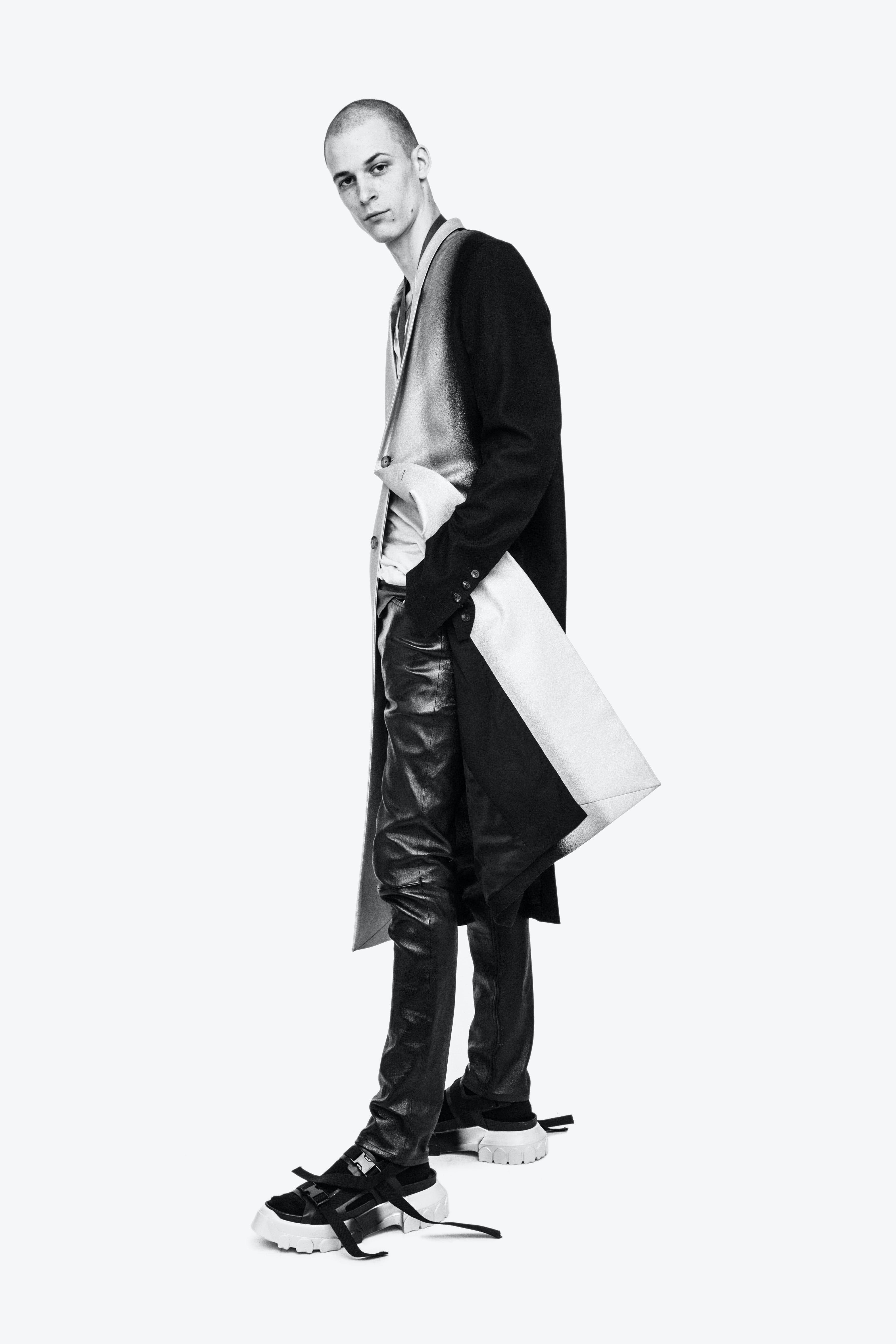 Rick Owens Campaign Below The Knee Black Silver Toned Coat Slim Leather Trousers in Black Long Strap Sandals Mens SS19 Babel