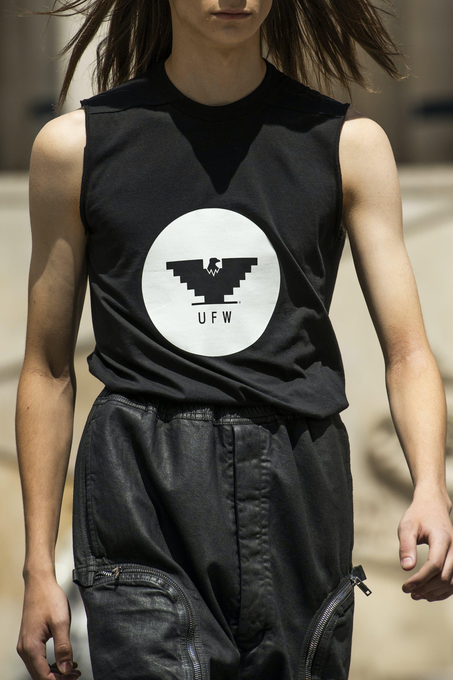 Rick Owens Runway Details Sleeveless UFW Aztec Eagle Logo Level Tee Bauhaus Cargo Pants Mens SS20 Tecautl