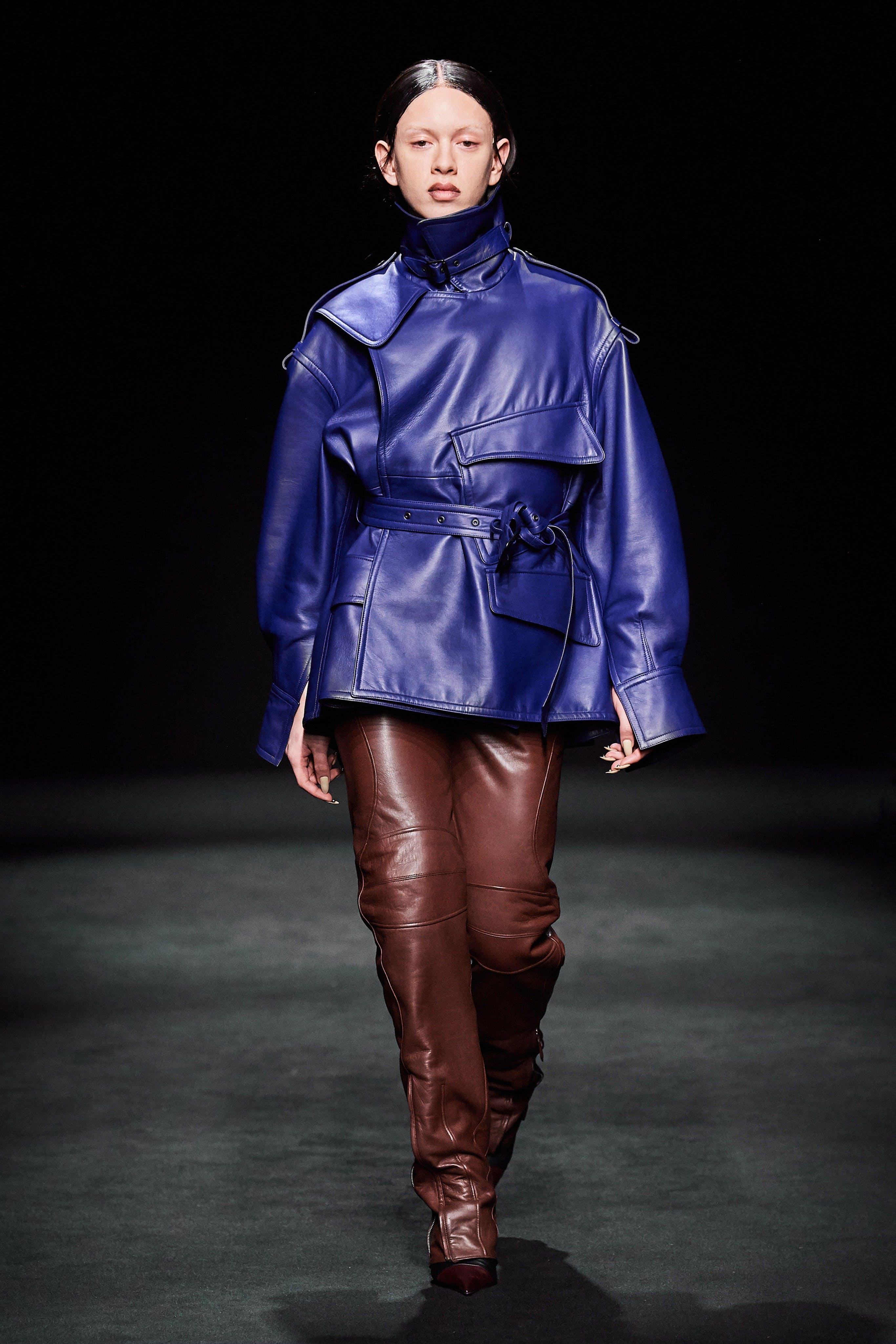 Mugler Runway Oversized Belted Jacket in Blue Loose Fit Leather Trousers in Brown Fall 20