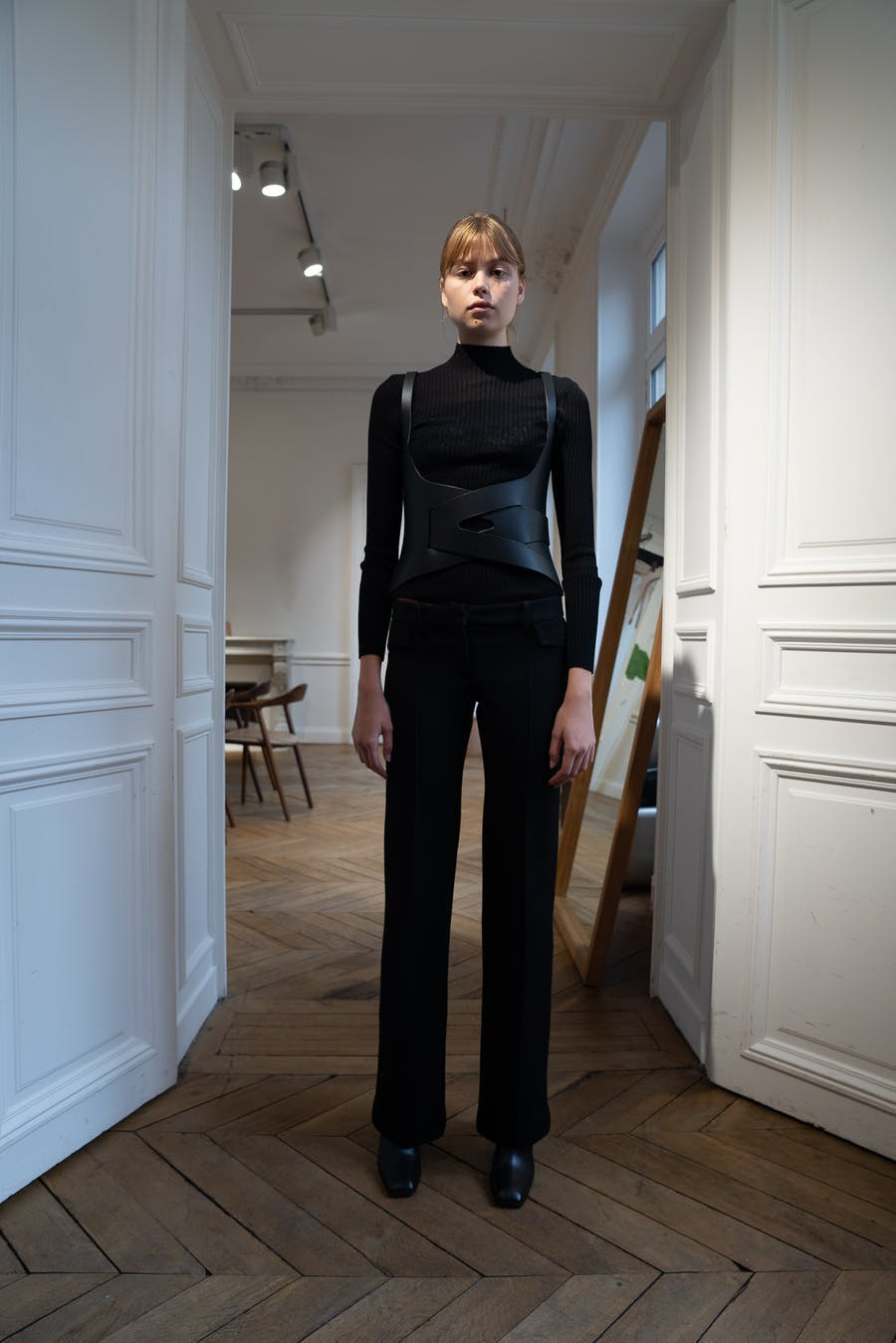 Dion Lee Backstage Long Sleeve Rib Tee in Black Cotton Cross Back Buckle Holster in Black Leather Low Rise Trousers in Black Spring 20 RTW