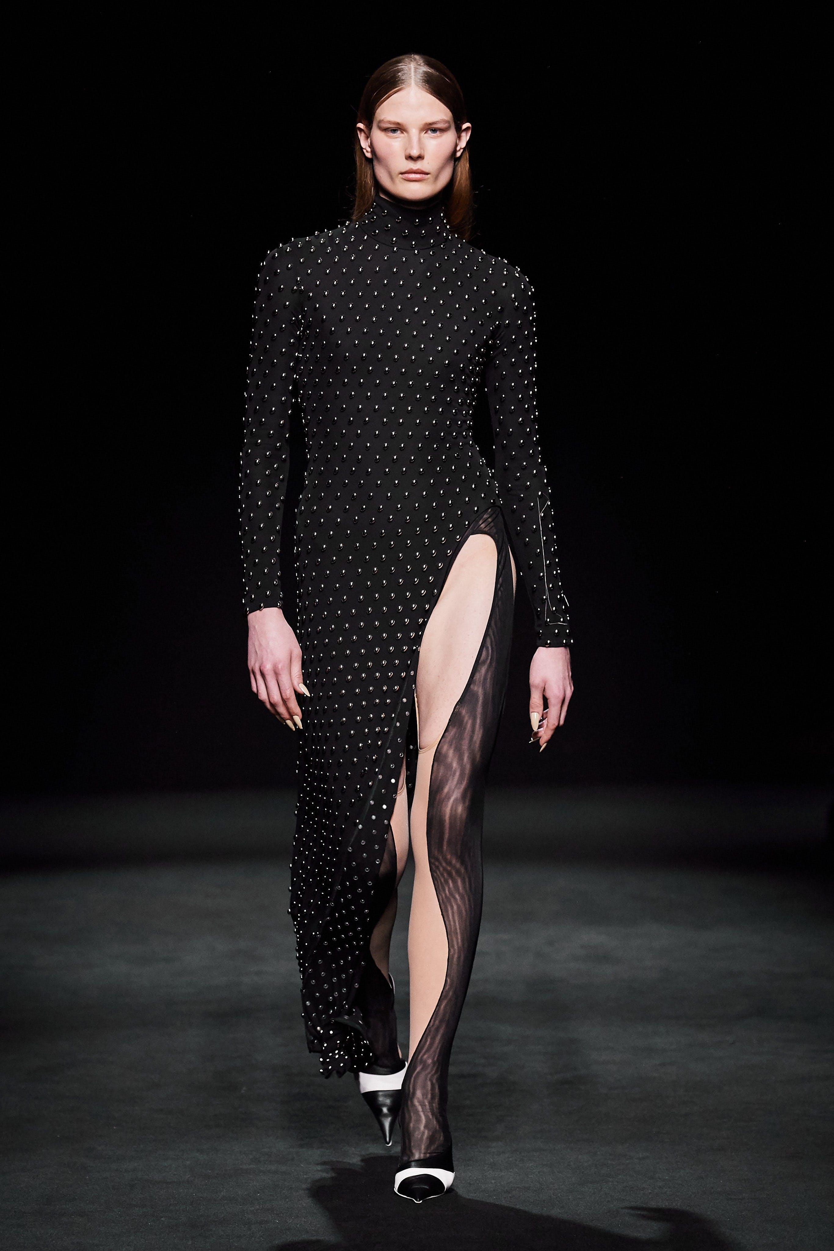 Mugler Runway Highneck Longsleeve Beaded Slit Dress in Black Panel Full Body Suit Fall 20
