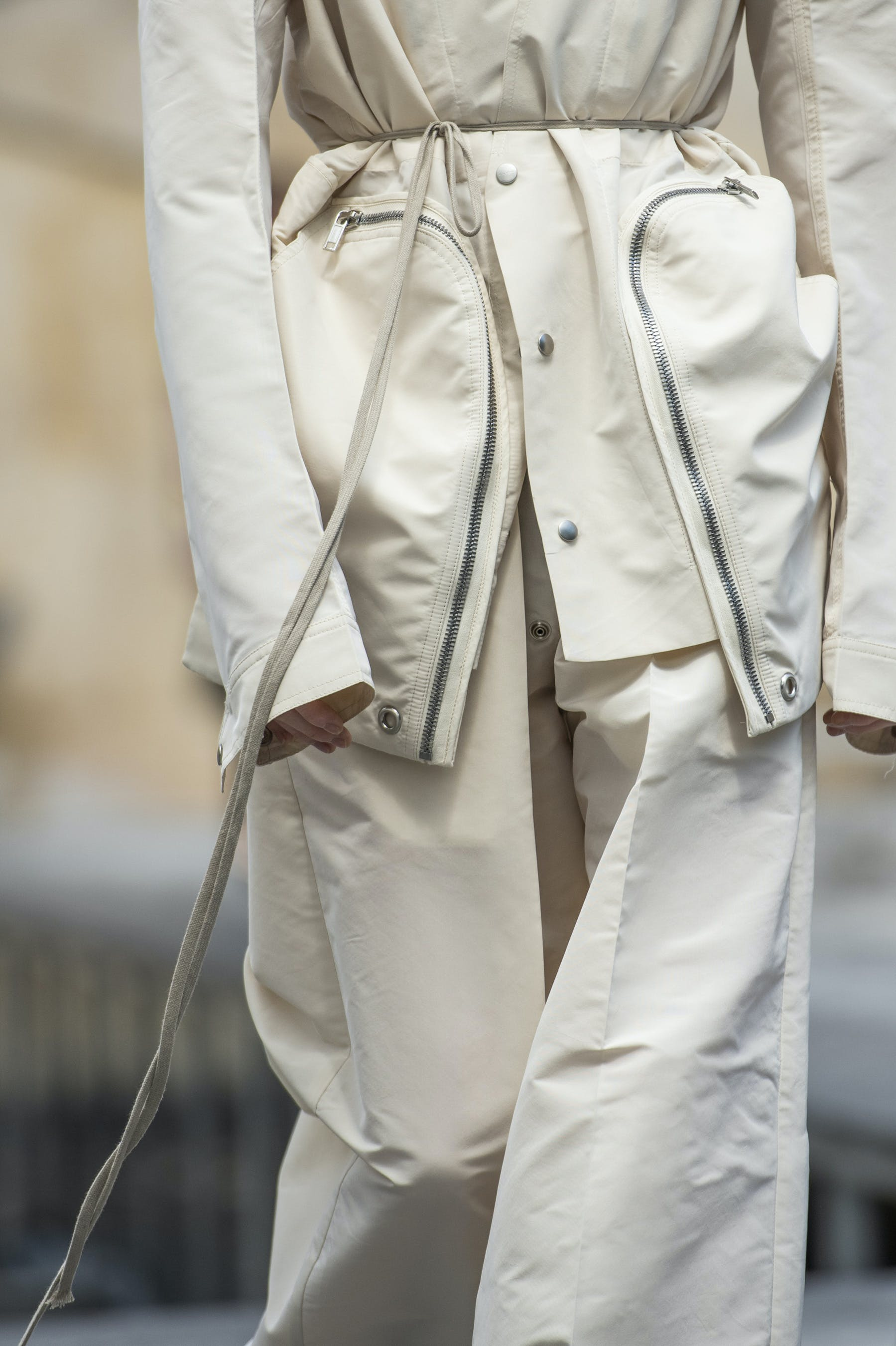Rick Owens Runway Details Off The Runway Bauhaus Jacket in White Loose Fit Trousers in WhiteMens SS20 Tecautl