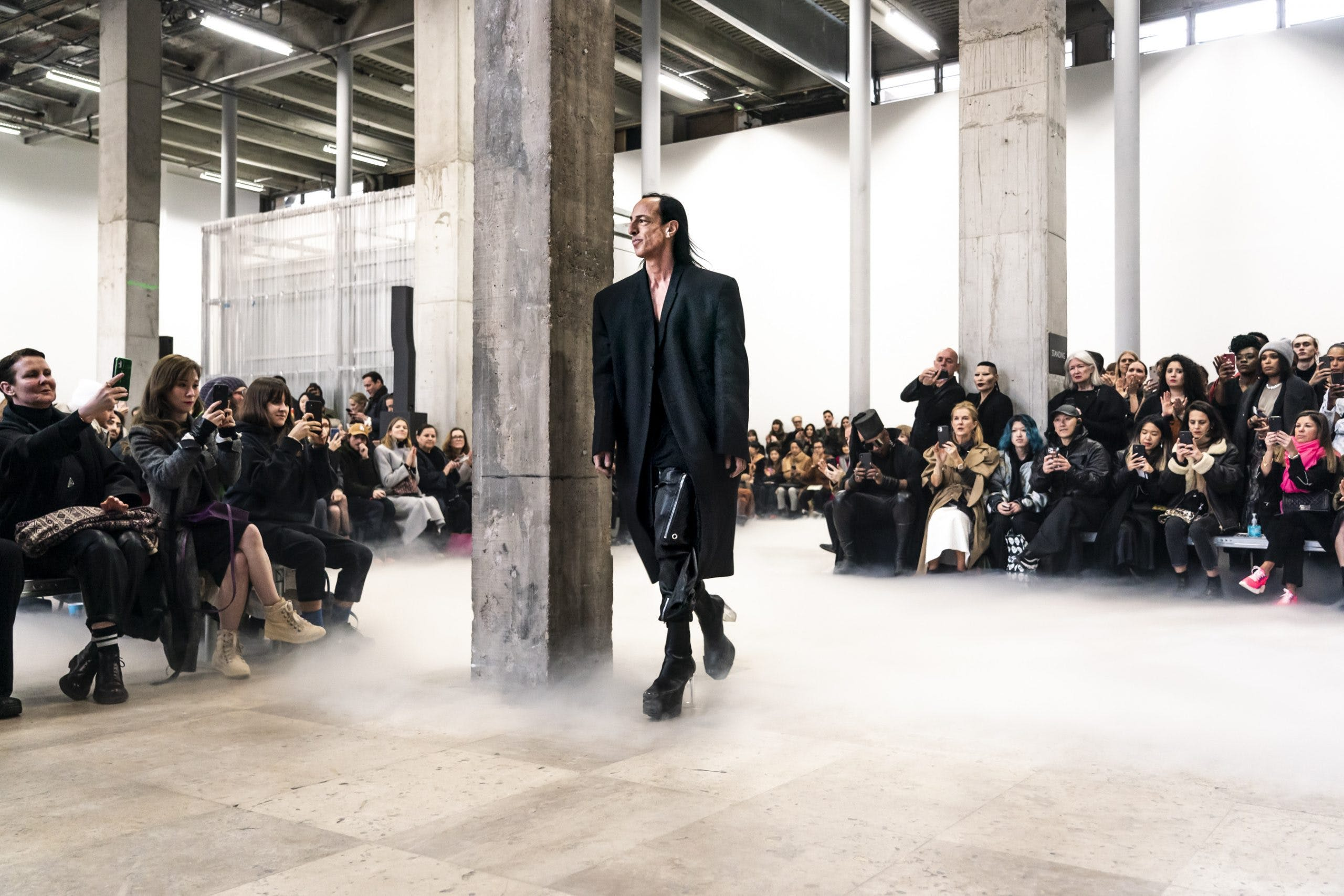 Rick Owens Runway Rick Owens Walk Through in Black Oversized Blazer Bauhaus Cargo Leather Pants Kiss Krill Boots in Black Leather With Transparent Heel  Womens FW20 Performa