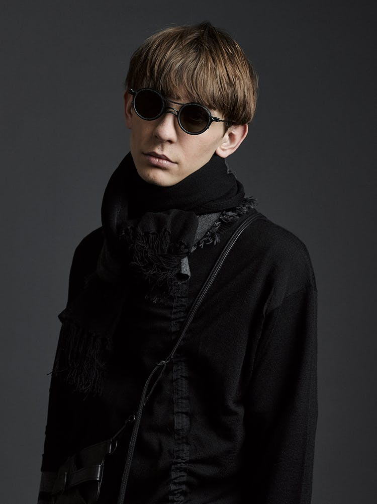The Viridi-Anne Campaign Rigards Collaboration Sunglasses in Black Print Scarf Long Twisted Shirt in Black AW19